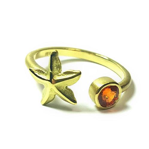 Starfish adjustable open ring with Spessartite Garnet