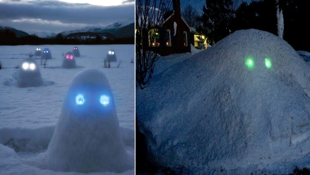 snow Monsters With Glowing Eyes