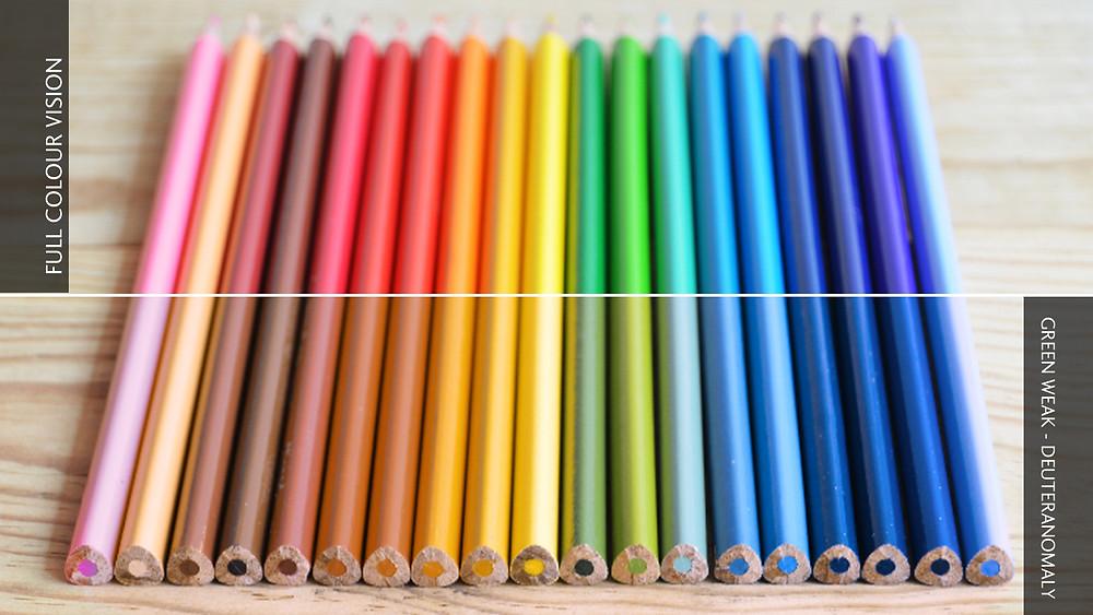 Colour blindness comparison image