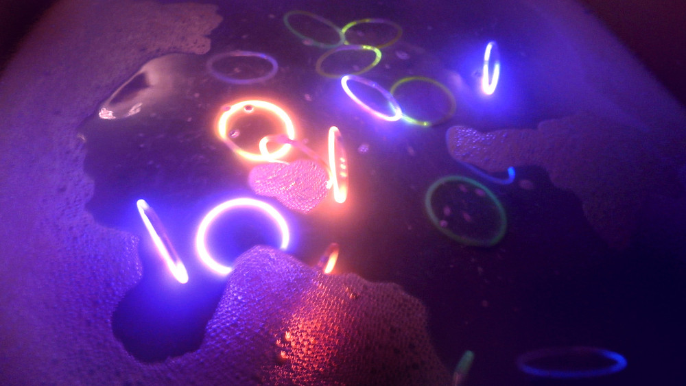 Glow-sticks in bath