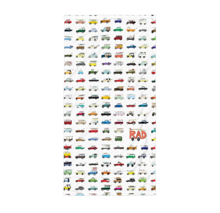 Rad Car Grid Beach Towel