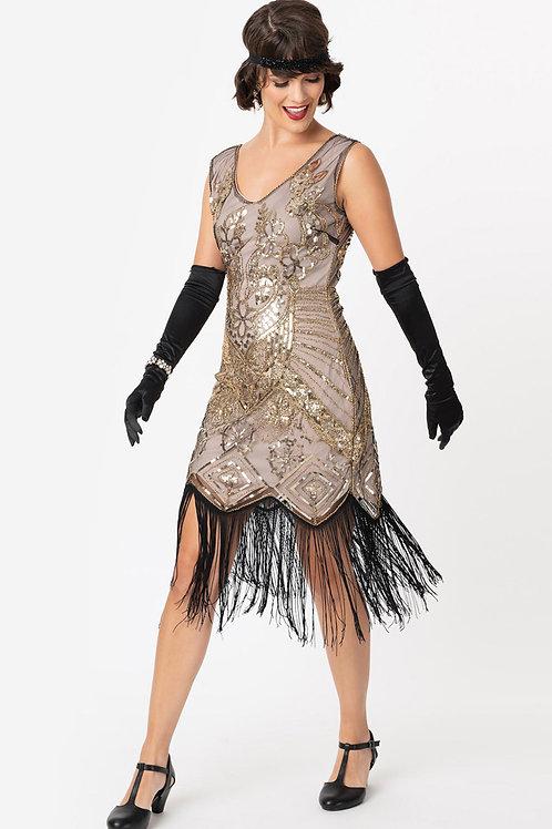1920s Champagne Gold Beaded & Fringe Charvelle Flapper Dress