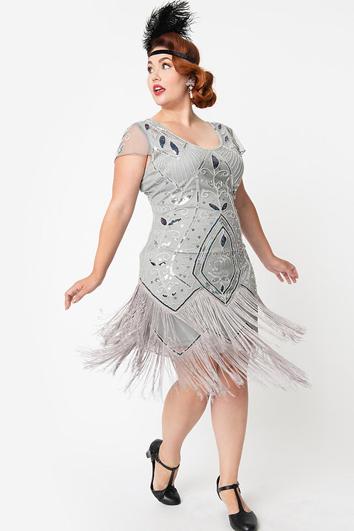 1920s Silver Beaded Noele Fringe Flapper Dress