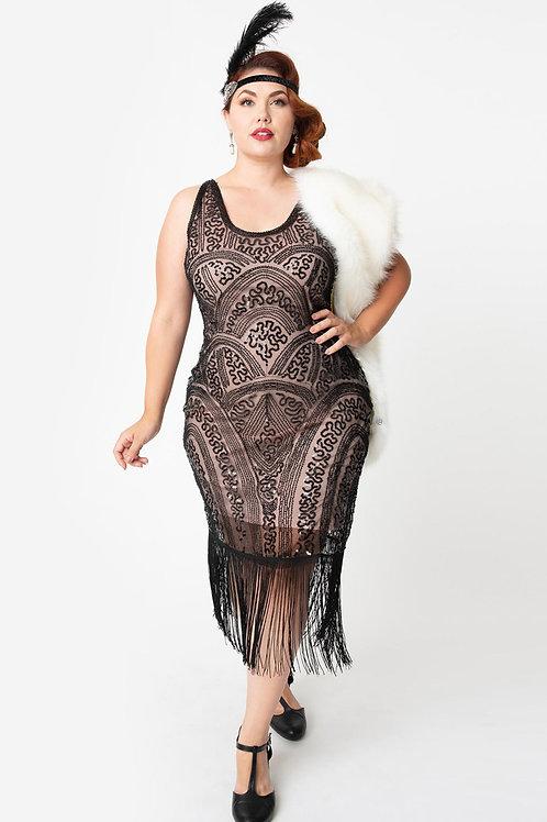 Blush Pink & Black Sequin Fringe Milienne Flapper Dress