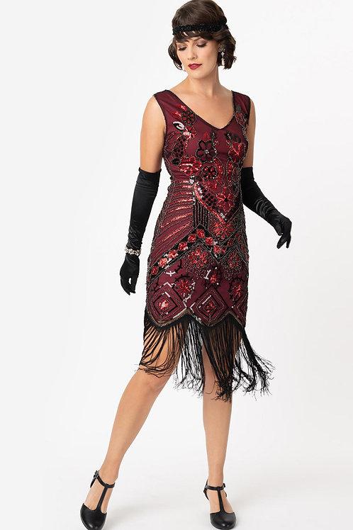 1920s Black & Red Beaded Fringe Charvelle Flapper Dress