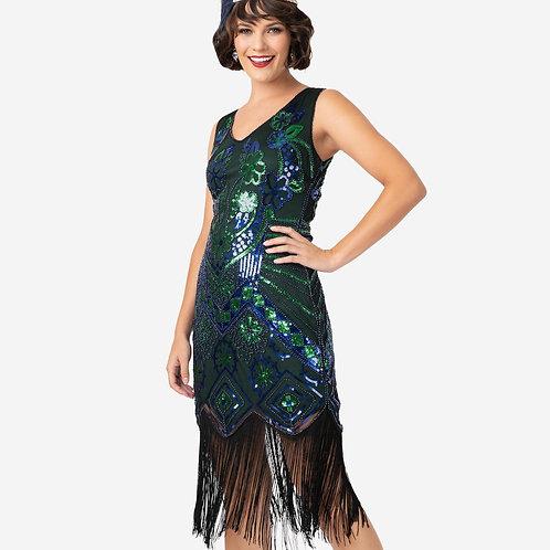 1920s Emerald & Royal Blue Beaded Fringe Charvelle Flapper Dress