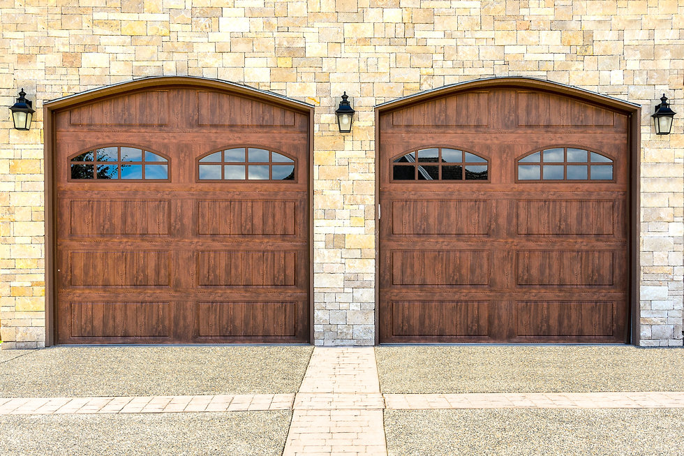 Luxury house with double garage door in