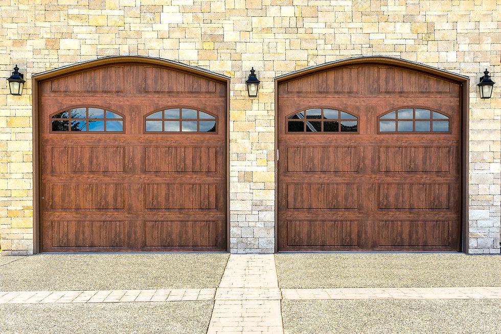 Luxury house with double garage door in