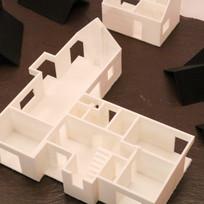 3D Printed House Model on Vintage Slate Base