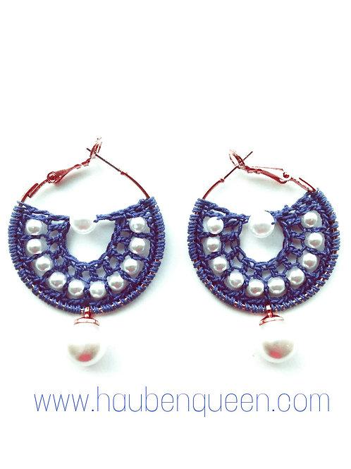Creolen blau mit Perlen