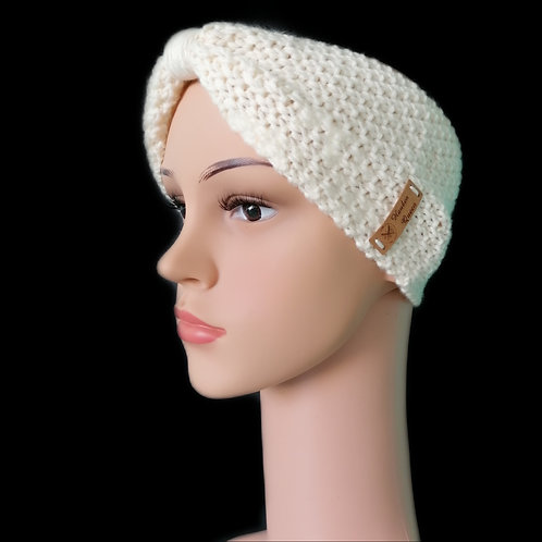 Modell Gipsy Stirnband handgestrickt naturweiss