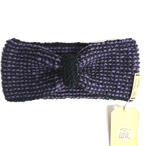 Stirnband Schleife lila/schwarz