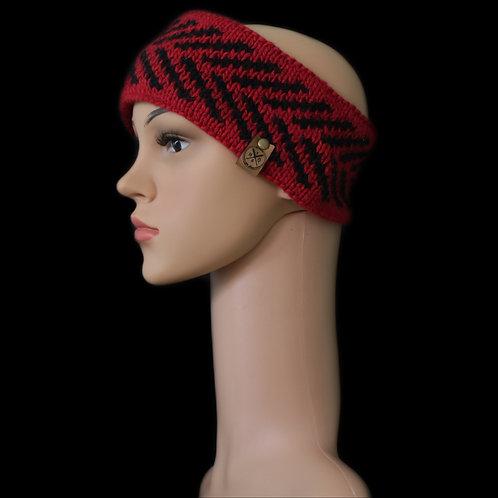 Modell Zoey Stirnband handgestrickt rot/schwarz
