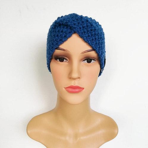 Stirnband Twist gestrickt Royalblau