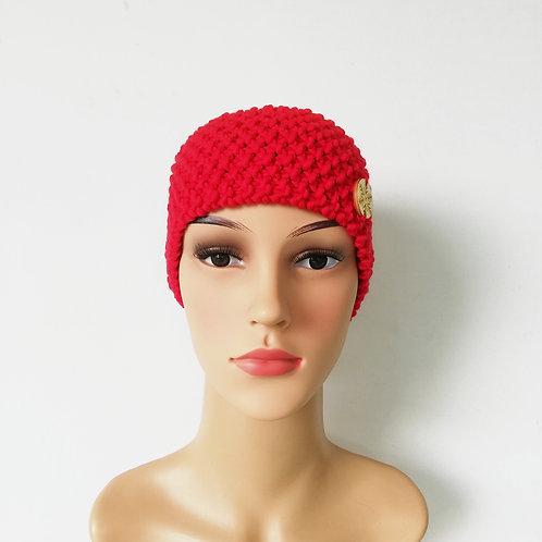 Stirnband Merino dick Rot