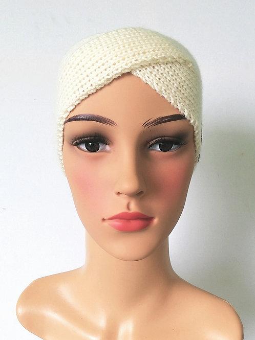 Stirnband Twist Merino Weiß