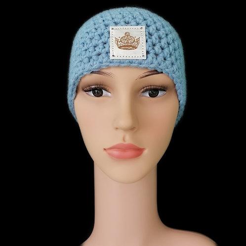 Modell Daisy Stirnband gehäkelt eisblau