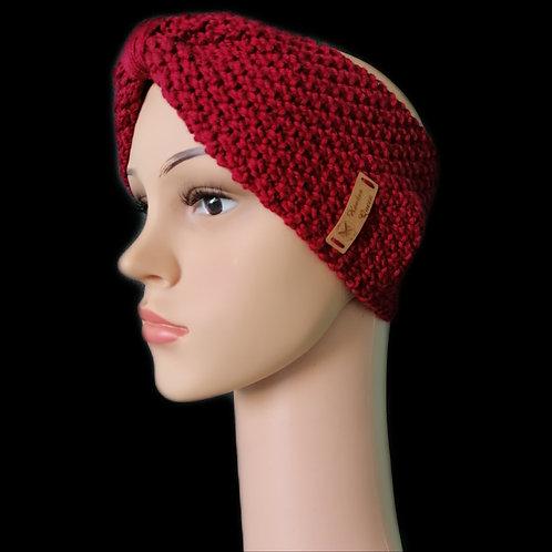 Modell Gipsy Stirnband handgestrickt weinrot