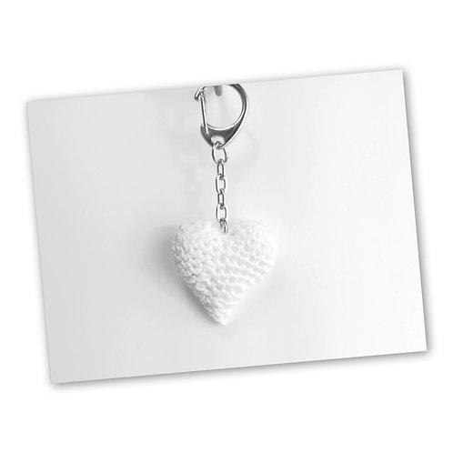 Schlüsselanhänger Herz weiss