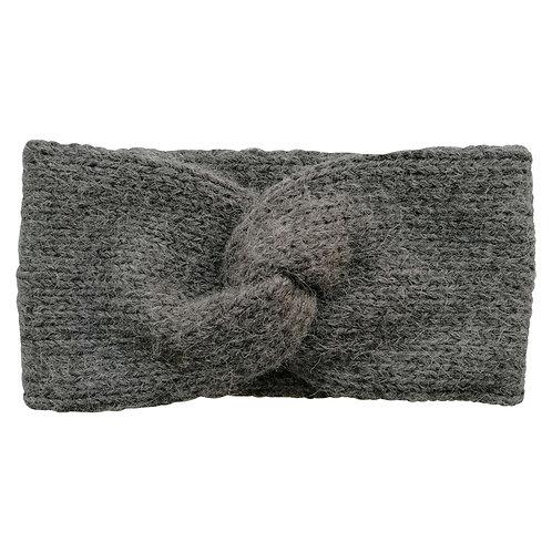Alpaka Knotenstirnband doppelt gestrickt grau