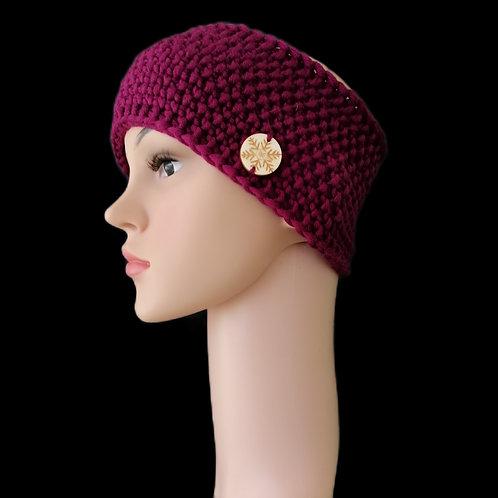 Modell Ruby Stirnband handgestrickt burgund