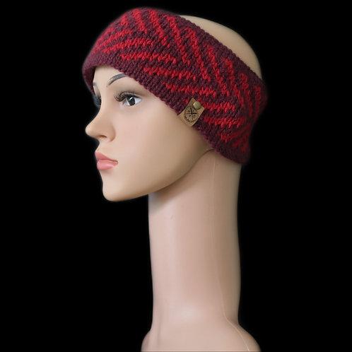 Modell Zoey Stirnband handgestrickt burgund/rot