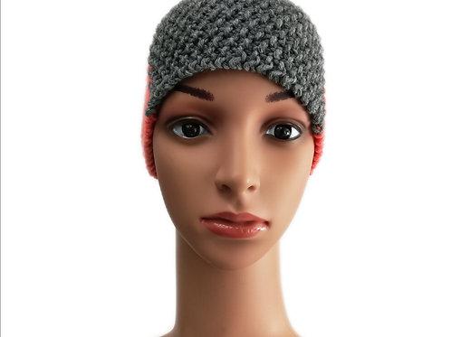 Stirnband Perlmuster koralle/grau