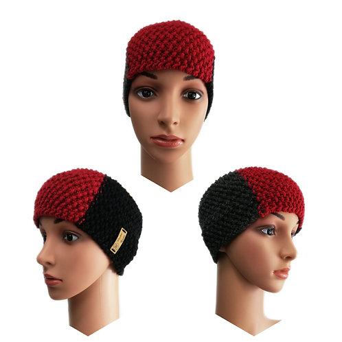 Stirnband Perlmuster schwarz/rot/anthrazit