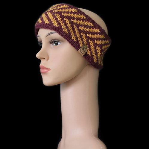 Modell Zoey Stirnband handgestrickt burgund/curry
