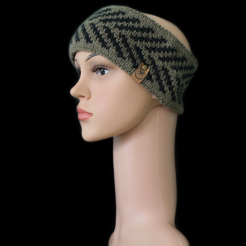 Modell Zoey Stirnband handgestrickt khaki/schwarz