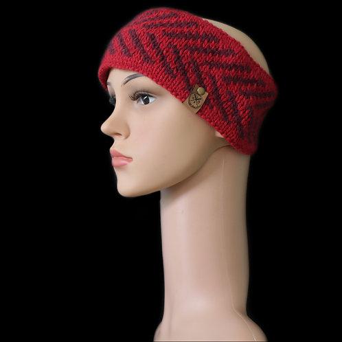 Modell Zoey Stirnband handgestrickt rot/burgund