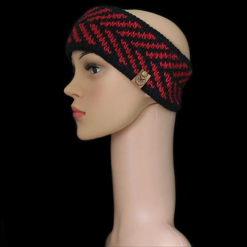 Modell Zoey Stirnband handgestrickt schwarz /rot