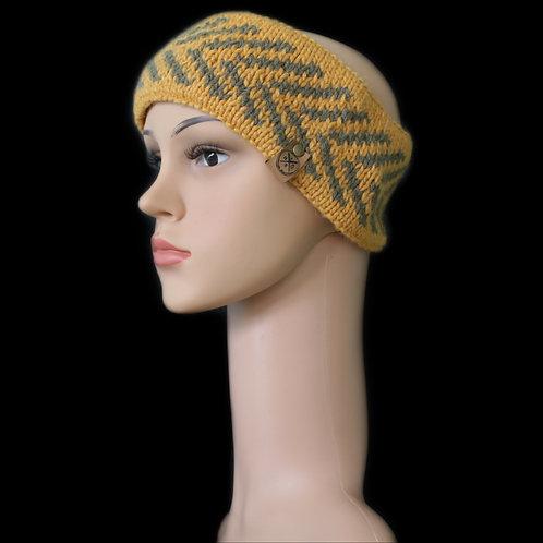 Modell Zoey Stirnband handgestrickt curry/khaki