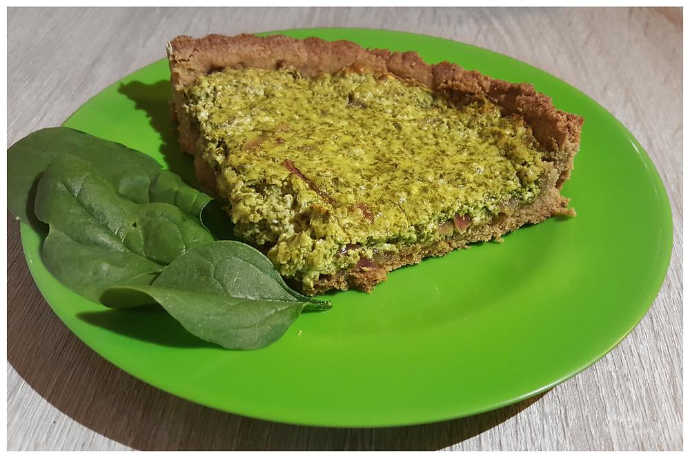Feta spinach tart slice