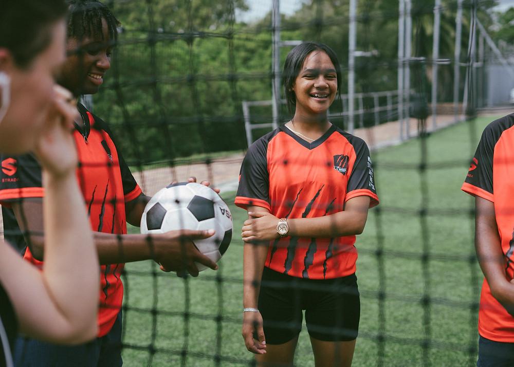 Girl soccer soccer net