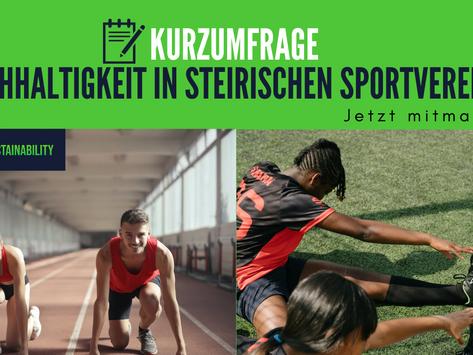Kurzumfrage zu Nachhaltigkeit in steirischen Sportvereinen! Jetzt mitmachen