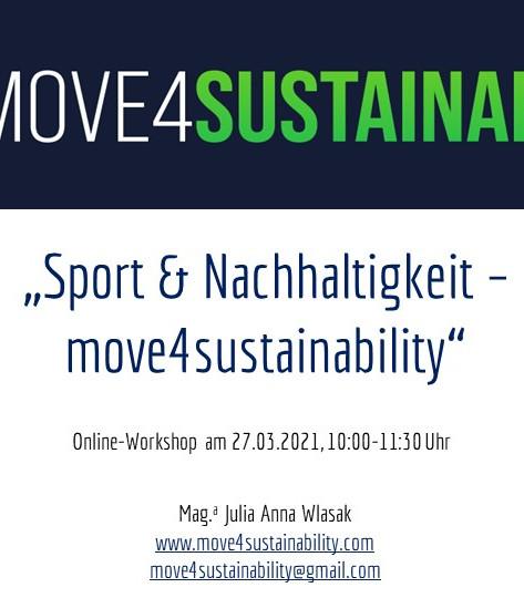 """II. Workshop """"Sport & Nachhaltigkeit - move4sustainability"""" am 27.3.2021"""