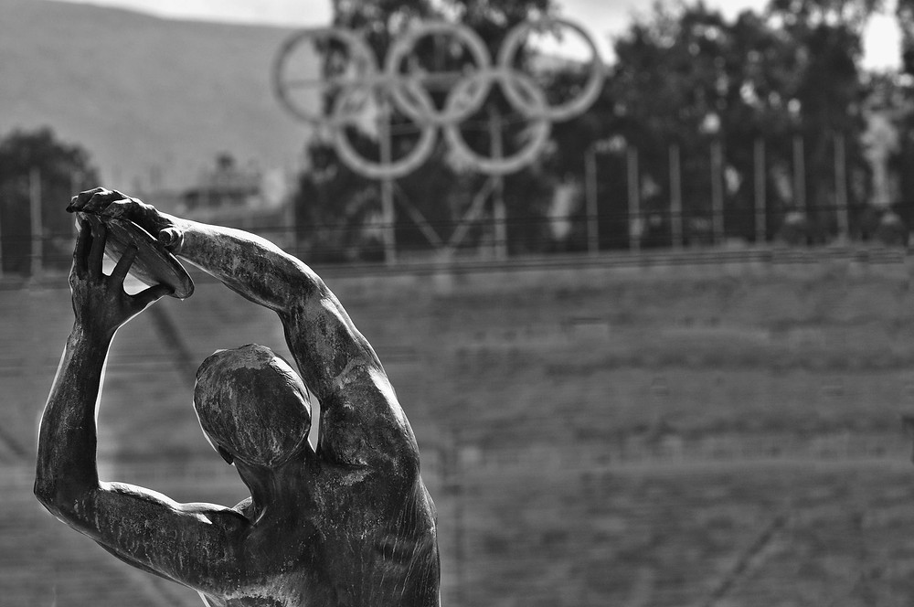 Olympia Olympische Spiele Ringe Statue