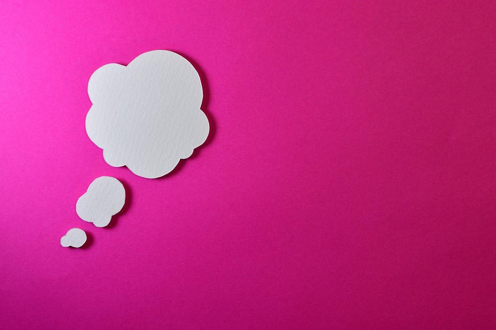 Gedankenwolke Weiß Pink