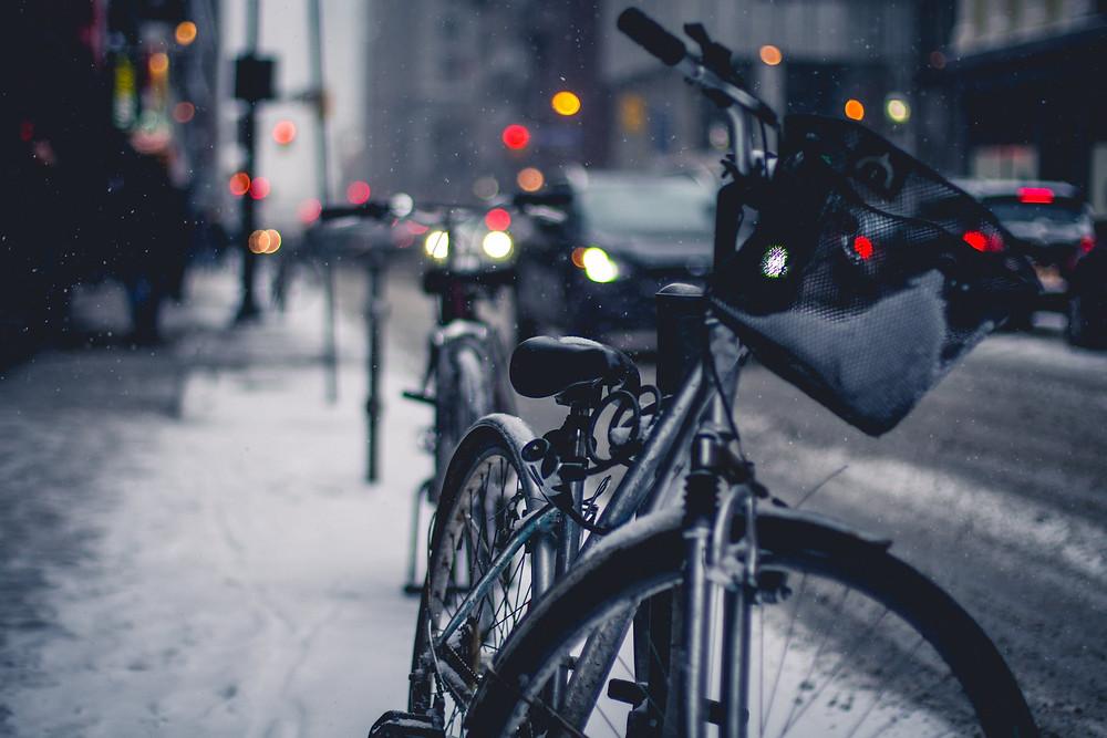 Bike Traffic Street Rain