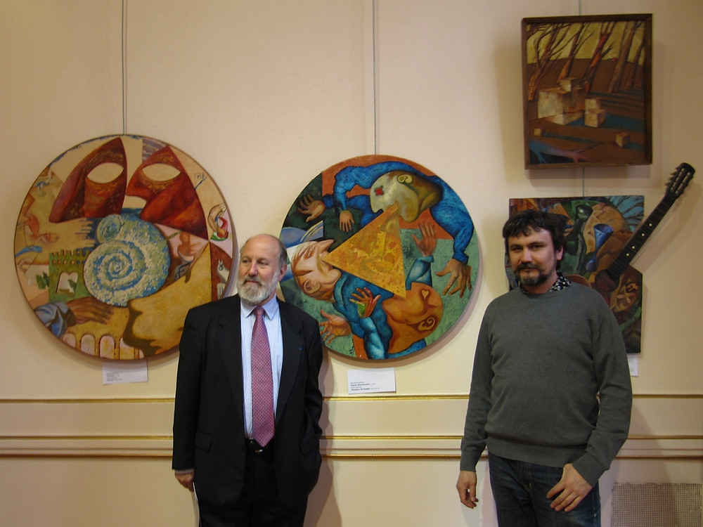 Art collector René Guerra and artist Dmitry Ivashintsov in Paris