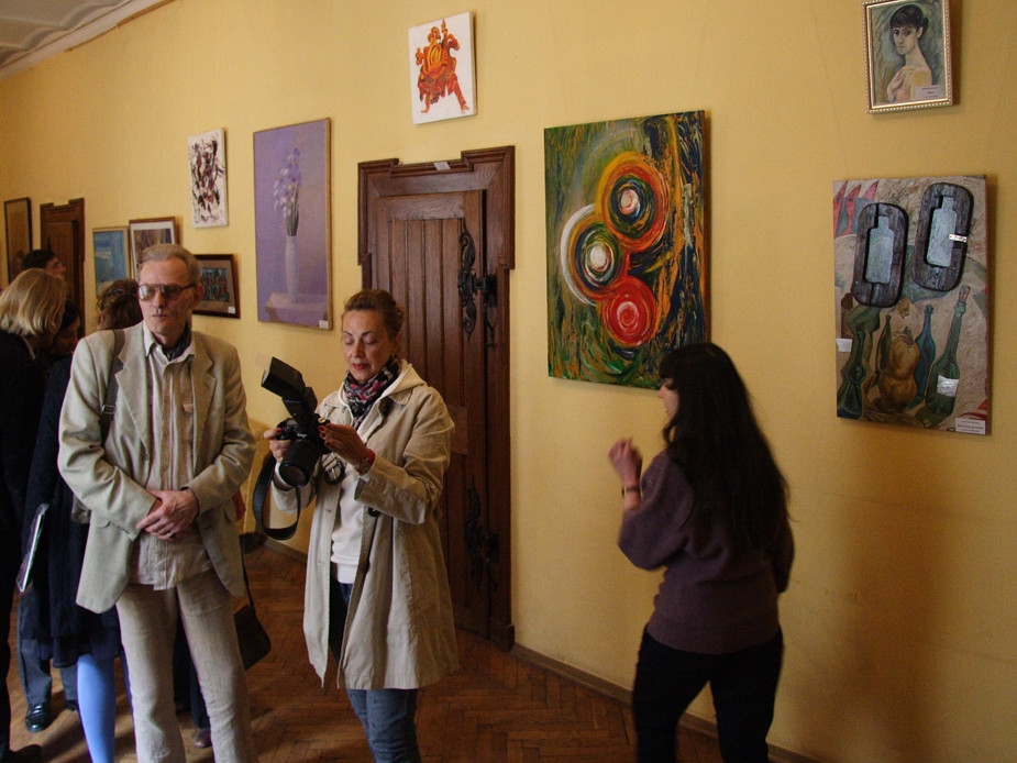 Paintings at the art exhibition in the St. Petersburg House of Composer.