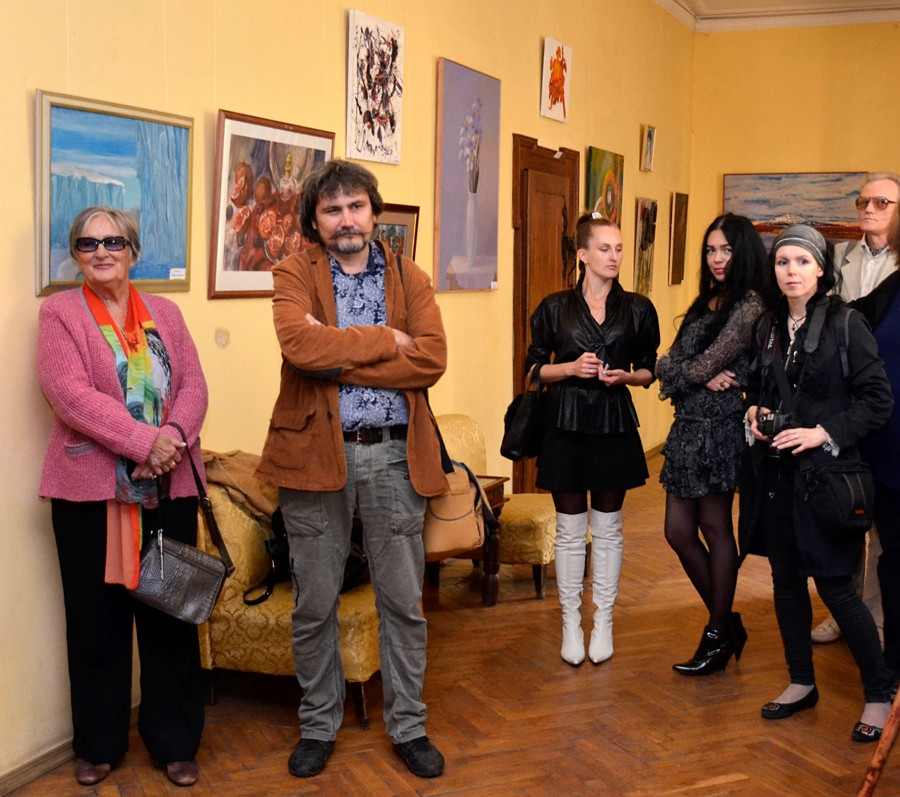 Art exhibition, at the opening reception.