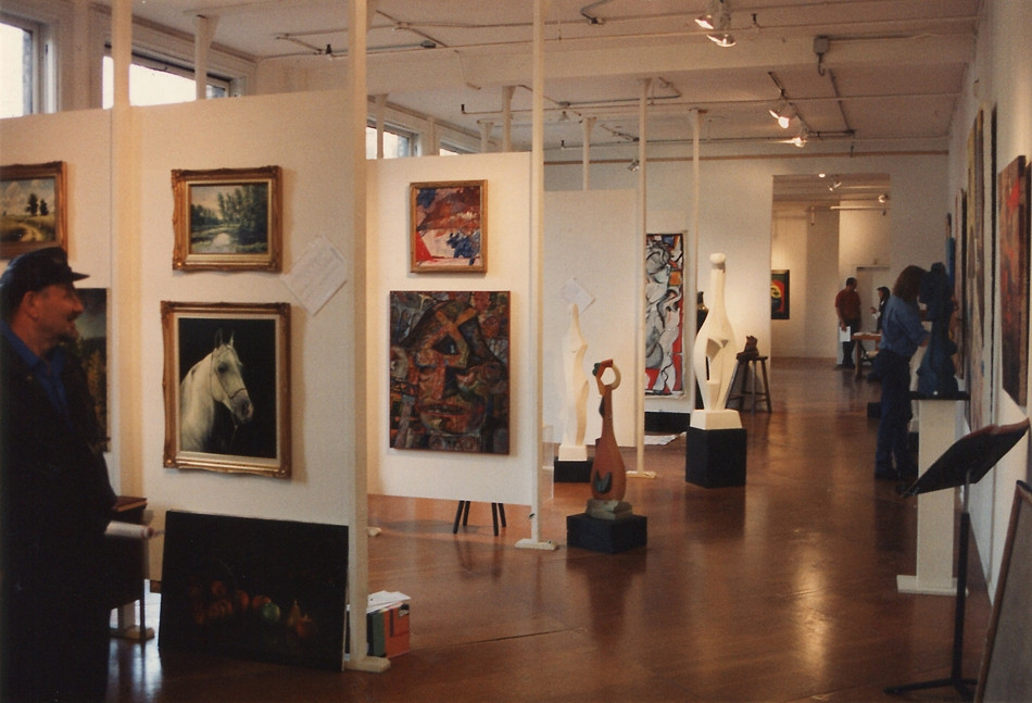 In the gallery space, artists in residence.