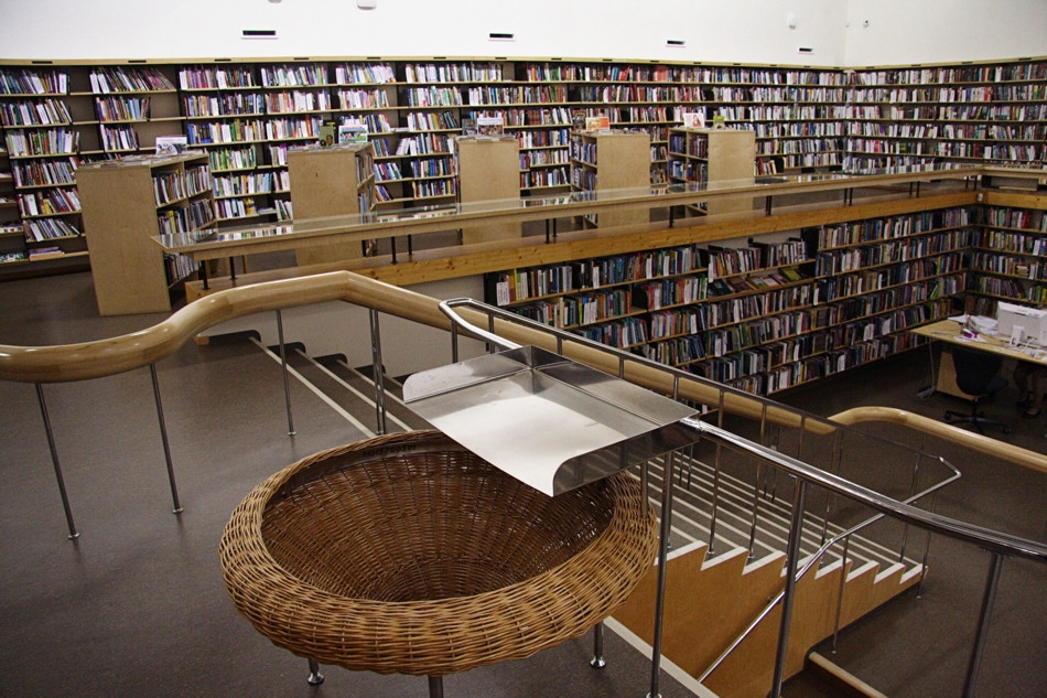 Interior of the City Alvar Aalto Library, the central part.