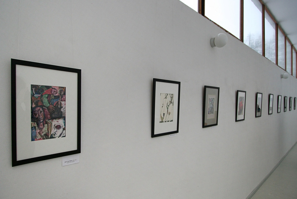 Photo of the exposition in the Aalto Library,
