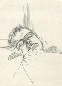 Sleeping soldier. Portrait