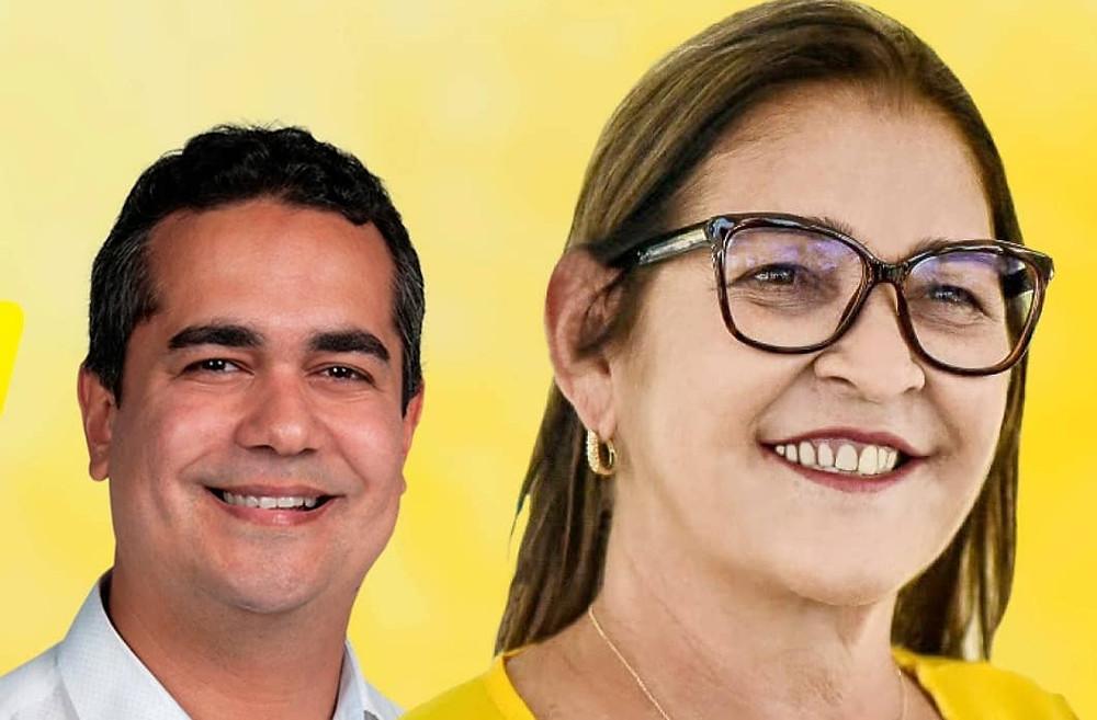Sebastião Barros - Tião (vice-prefeito); Isabel Hacker (prefeita). Créditos: redes sociais