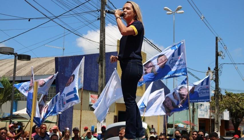 Camila Machado (PP), candidata a prefeita e atual vice-prefeita de Sirinhaém. Créditos: redes sociais
