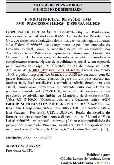 Dispensa de licitação 03/2020 - 16 mil máscaras